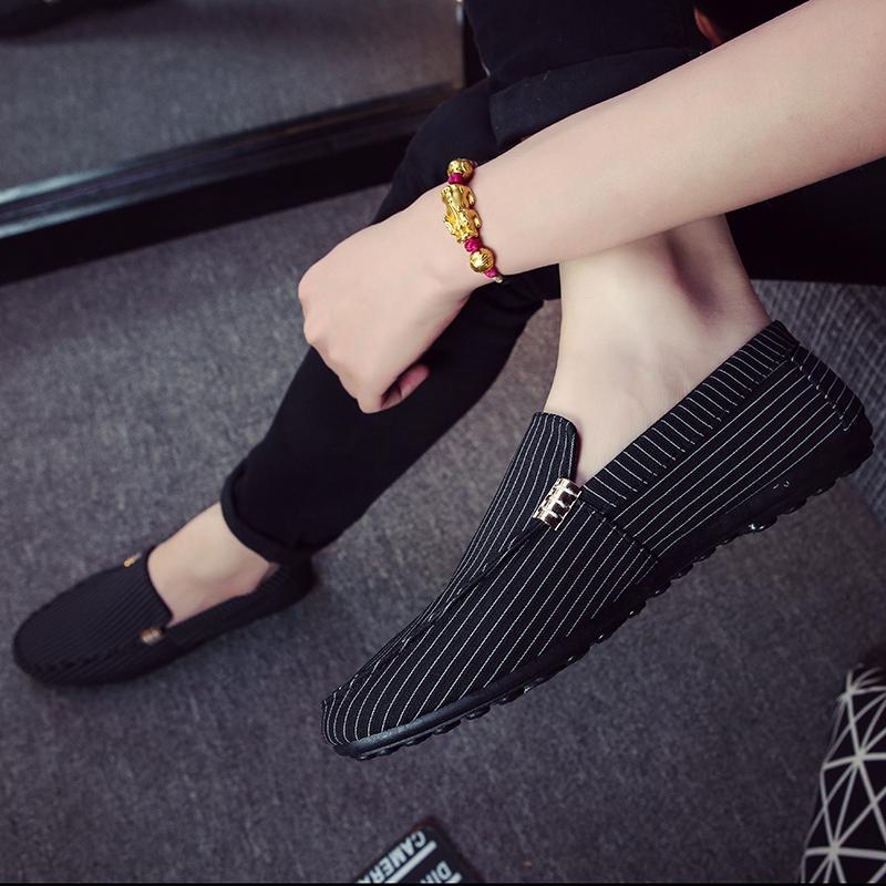 Лето мужская обувь горох туфли мужчина корейский холст обувь удар удаление бездельник ткань обувная мужчина кожаная обувь случайный общество может парень обувной