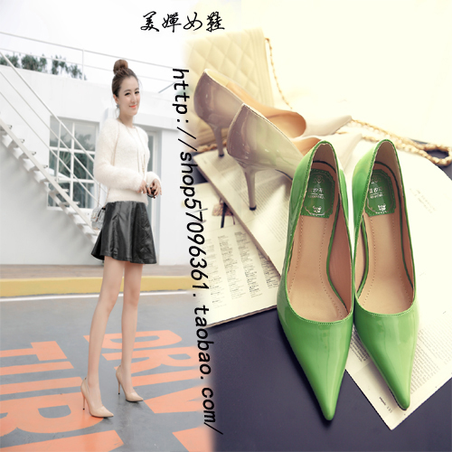 2020 new spring and summer pointed thin heel candy patent leather womens Shoes Sexy shallow mouth super high heels ol single shoes womens spring