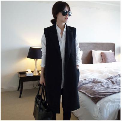 Весна 2016 новый жилет куртка женский вентилятор Хан жилет костюм и тонкий длинный досуг Джокер назад прилив
