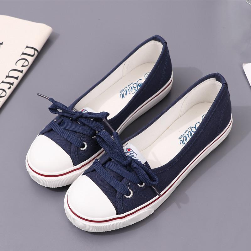 包邮蓓尔懒人鞋学生平底布鞋单鞋小白鞋浅口春夏帆布鞋女韩版休闲