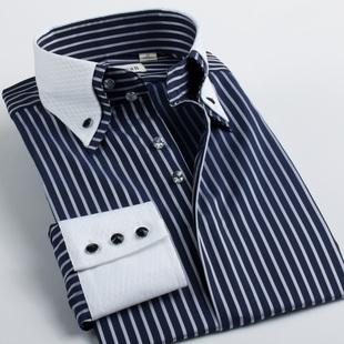 藏蓝色条纹长袖衬衫男士丝光棉韩版潮商务休闲双层领男装纯棉衬衣