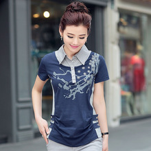 Female fashion T-shirt in the summer of 2015 middle-aged mother show thin printed cotton short sleeve T-shirt unlined upper garment to bigger sizes fat MM female tide
