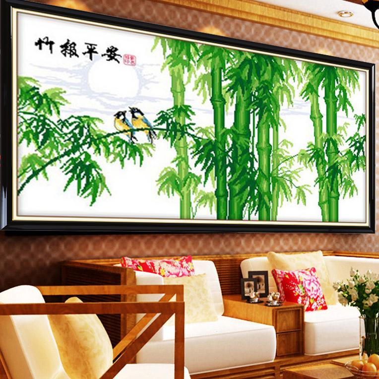 新版竹报平安十字绣风景竹子钻石画 新款客厅大幅竹抱平安2米系列