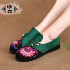 Chinese dance authentic female embroidered shoes old Beijing cloth shoes flat bottom end of comfortable and breathable layer national air shoes Gu Ping