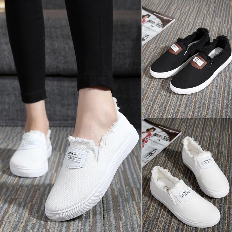 Новые белые туфли, корейских женщин Холст обувь Белый Обувь ленивый туфли Лок Фу с плоским педали обувь для отдыха