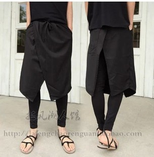 Male Shiha Lun pants big file pants low cross pants hip hop pants clang casual pants long pants tide culottes Scotland