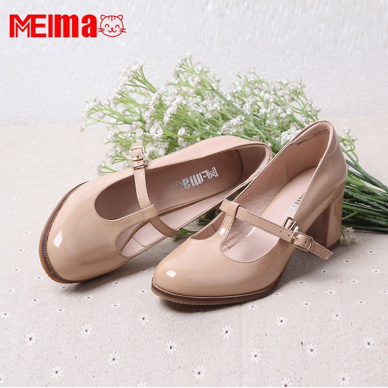 Meimeimao homemade new T-shaped buckle high heel retro round head leather hand customized wenyisen thick heel womens shoes