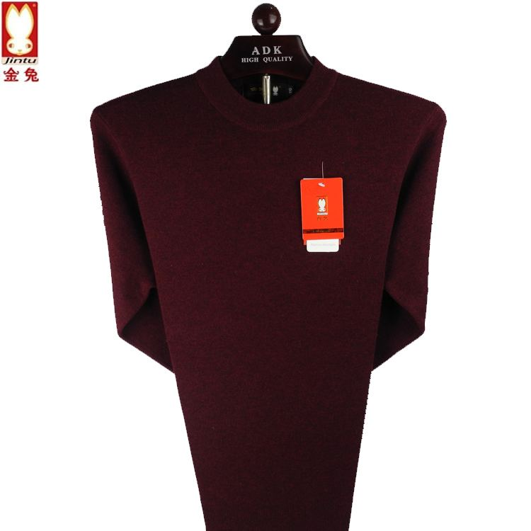 2020 golden rabbit new sweater mens round neck thick pure wool increase fattening middle aged and elderly half high collar sweater for men