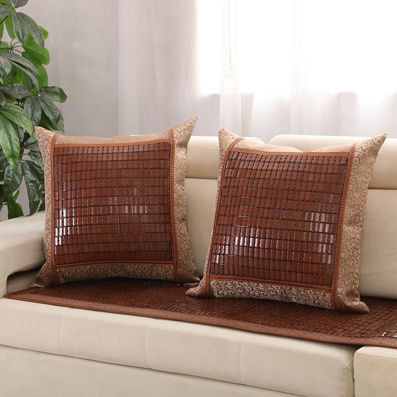 曲酷 夏天竹抱枕套靠垫夏季沙发麻将竹凉席靠垫汽车腰靠不含芯