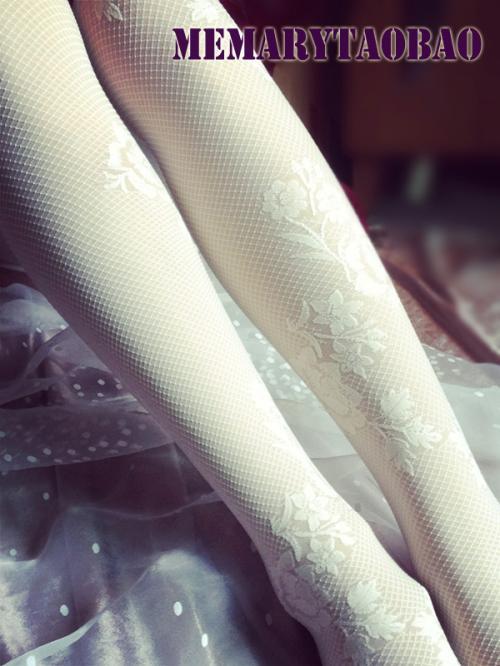 白色唯美蕾丝玫瑰花朵韩国连裤袜正品保证