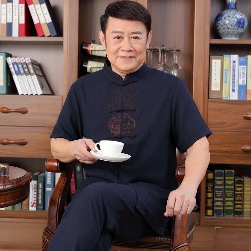 Китайский ветер лен костюм мужской установите вышивка летний костюм дед в пожилых человек короткий рукав китайский стиль льняная ткань отец наряд