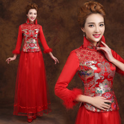 2015 spring winter new modified vintage wedding dress cheongsam-red padded long sleeve clothing wedding bridal toasting-