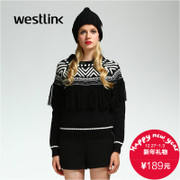 Westlink/West 2015 winter new style black and white geometric pattern Turtleneck Sweater woman Su Hou sweater