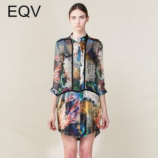 2017春新款100%桑蚕丝中长裙开衫高端气质印花真丝两件套女连衣裙