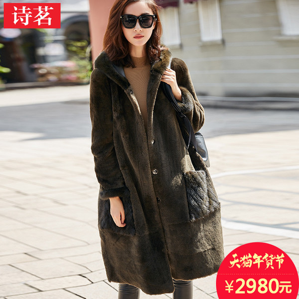 Shiming 2016 winter mink hooded fur coat to wear double-sided sheep shearing fur coat Girls long paragraph