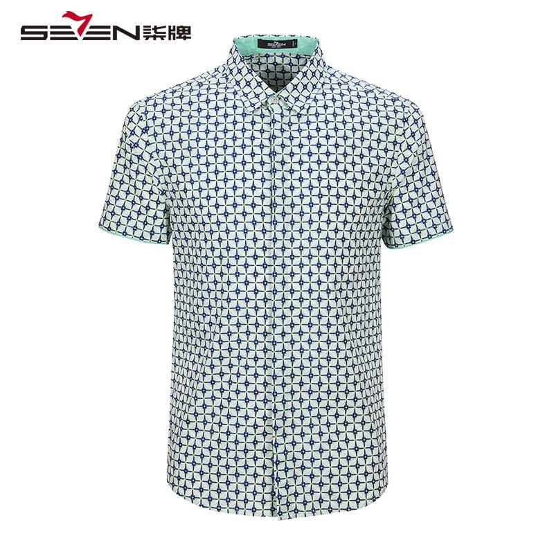 柒牌短袖衬衫男装夏季款男士翻领商务休闲时尚短袖衬衣衬衫