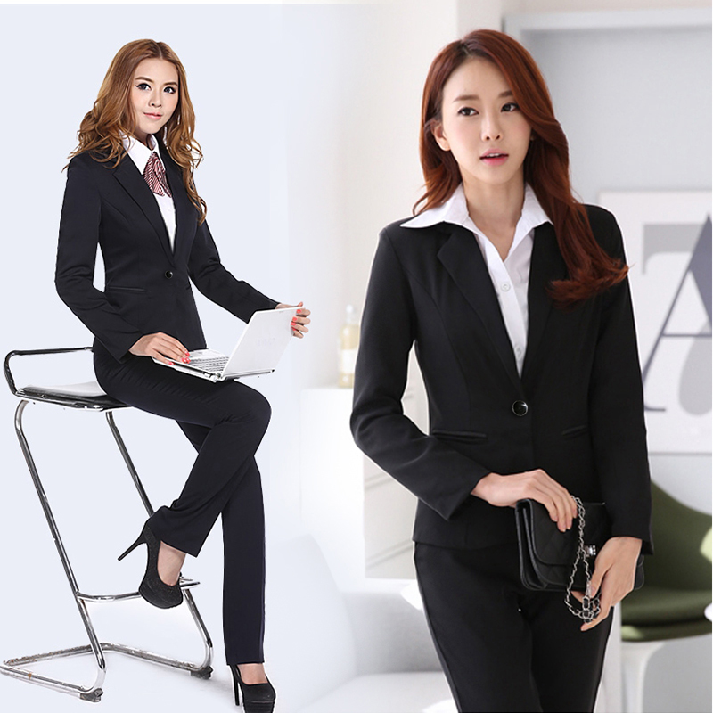 Professional suit womens spring and autumn Korean two piece suit suit suit suit suit suit ol black office girl