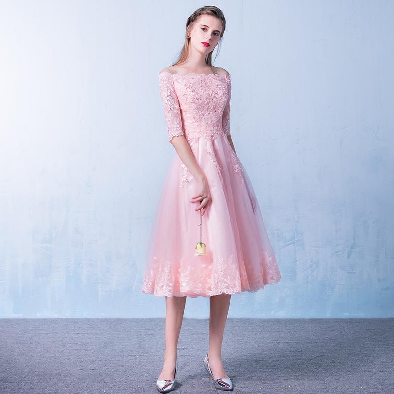 粉色一字肩宴會顯瘦伴娘服