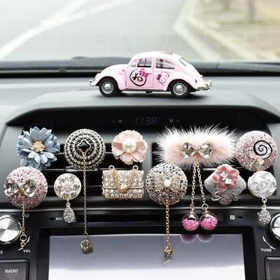 创意汽车出风口香水 高档车载空调出风口香水 镶钻汽车香水夹女