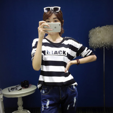 Fall 2015 new women's fashion temperament han edition show two thin joker color stripes coat letters fleece t-shirts