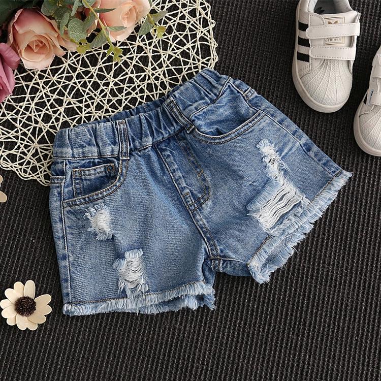 女童牛仔短裤破洞夏季5女孩6时尚8童装9中大童10韩版12岁薄款热裤
