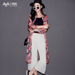 Seven space space OTHERMIX2015 new air conditioning in floral printed chiffon shirt thin in summer sun dress coat girl