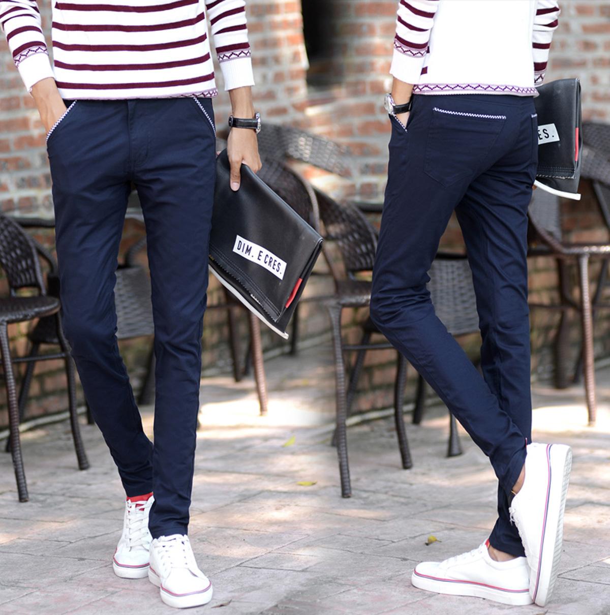 青年男士直筒純棉小腳褲