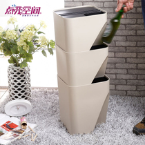 Creative japanese trash living room trumpet can be stacked storage bucket covered kitchen square trash