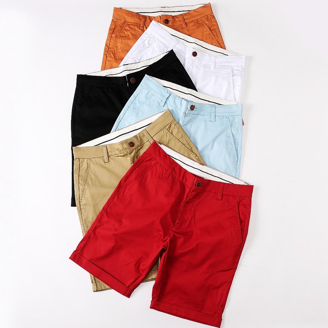休闲短裤男夏天男士修身沙滩裤海边度假纯棉纯色5分五分裤潮流