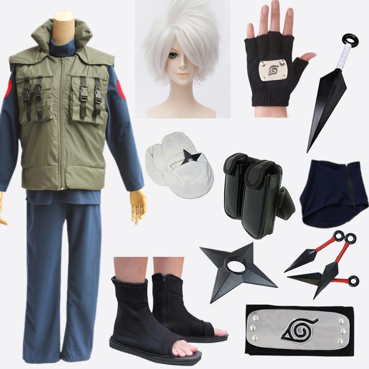 全セットの17着のNARUTO-ナルト-の旗の木のカカシのcosの服装の上で忍ぶ戎の服装のCOSPLAY服を郵送します。