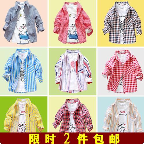 Мальчики длинный рукав куртки рубашки весной и осенью младенцев носить тонкие девушка плед рубашку Англия 0-1, 3 2