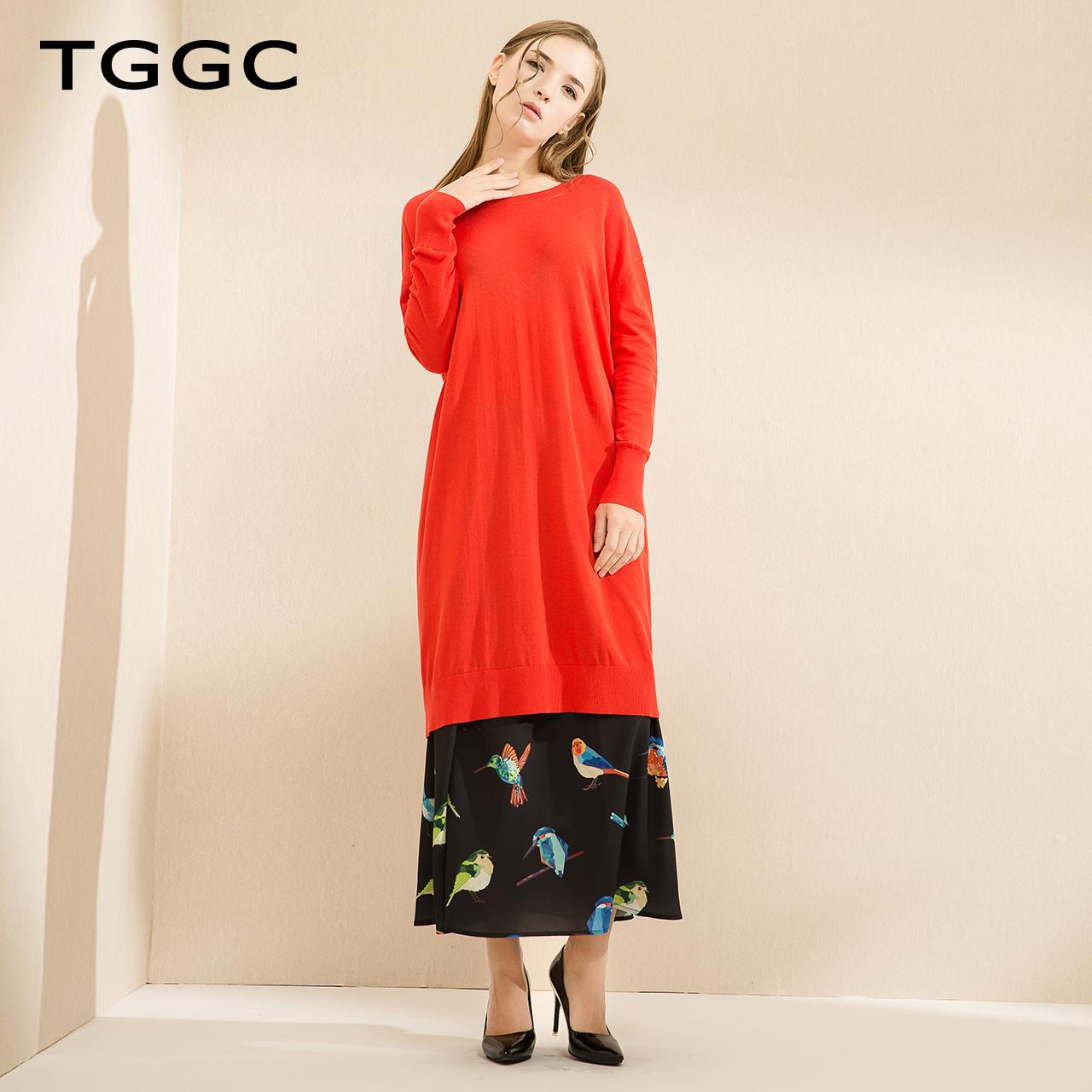TGGC 2018春装 简约宽松显瘦长袖纯棉中长款针织连衣裙女 F19559