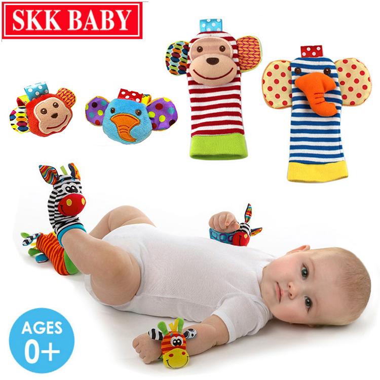 Ребенок запястье погремушки игрушка 0-1 лет новорожденных плюш браслеты 0-3 ребёнок возрастом … месяцев наручные часы принесите носки. установите
