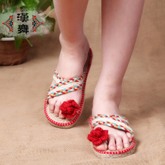 Han summer home skid in genuine linen slipper dance shoes straw shoes one the floor pedal idle man shoes 5L101
