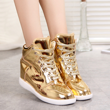 The spring and autumn period and the new product High platform in higher for women's shoes Gold silver bright skin han edition of sports shoes casual shoes list