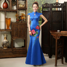 The new summer 2015 Olympic embroider cheongsam cheongsam modified tail long etiquette awards greeter stage costumes