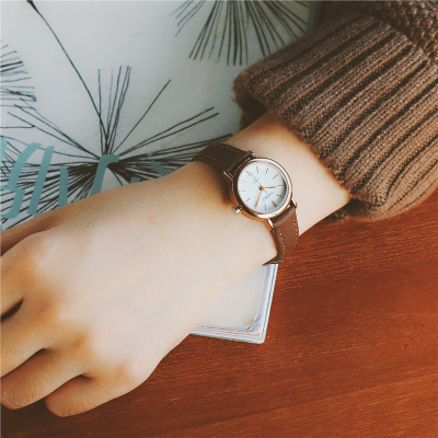Korean version of the simple Harajuku students table female table retro brown black belt watch small table quartz watch