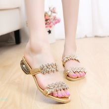 Lady's slipper summer new product 2015 packets of mail the stylish diamond is flash cool low with root set foot tassel slippers