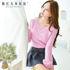 Sweater girls big pink doll spring 2015 new retro twist short t loose pullover