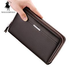 英伦保罗 真皮多功能拉链手拿包男款商务手抓包钱包手包长款男