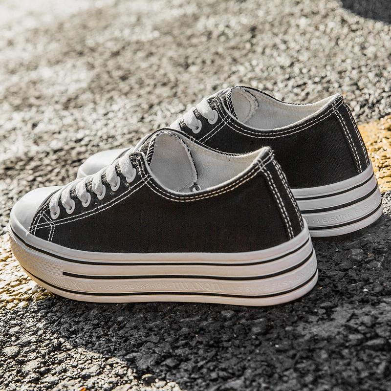 帆布鞋女厚底�W生�n版�h球布鞋夏季百搭平底小白鞋2018新款黑球鞋