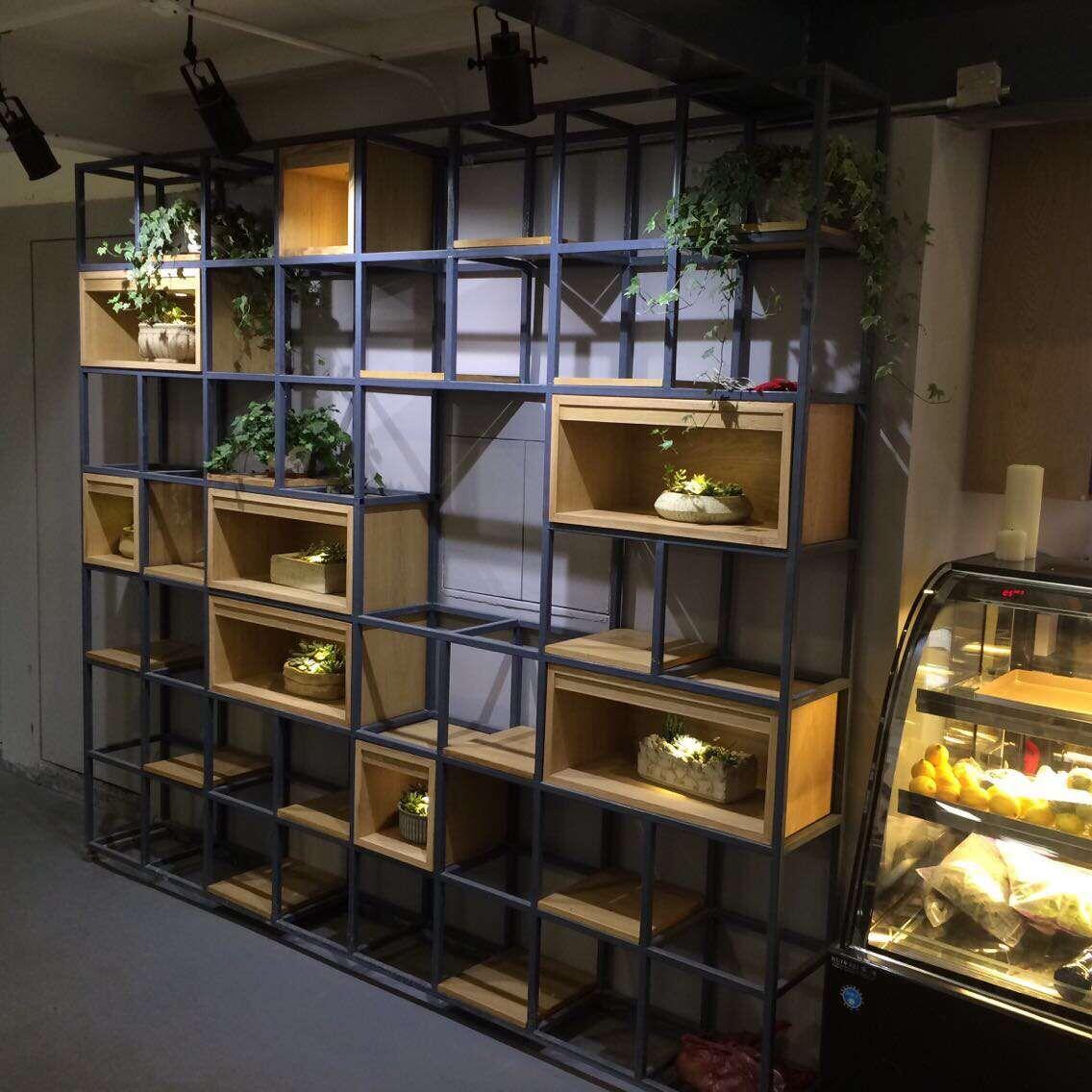 工業LOFT美式書架客廳複古書櫃鐵藝隔擱板置物架實木隔斷展示貨架