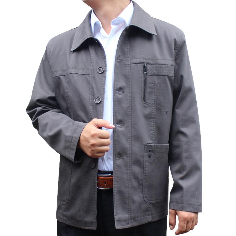 AK老人の全綿折り襟ジャケット男性のシングルホップカジュアルコート