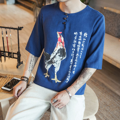 咖啡厅青 中国风男士短袖T恤加大码印花棉麻T恤A032/T203/50控68