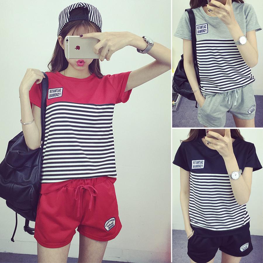 Полоса досуг костюмы женские короткие летние шорты 2016 корейской версии спортивной одежды дамы Дамы Спорт плюс размер