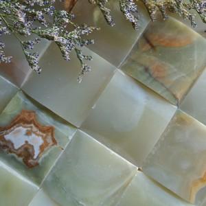花花石语 电视背景墙 形象墙 玄关玉石 天然石材弧形马赛克定制