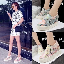 Han edition leisure lazy a pedal female loafers deep mouth large base platform shoes round head increased within the floral cloth shoes
