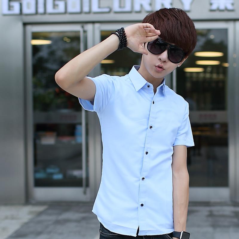 夏季薄款�色短袖�r衫男士�n版修身休�e短袖�r衣潮男�b白色衣服寸