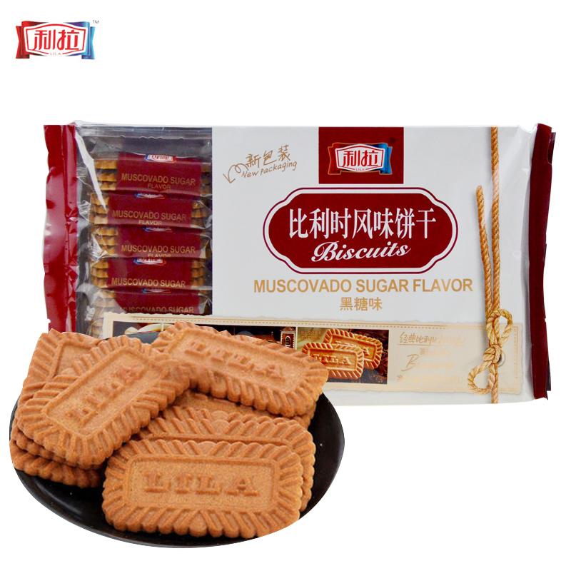 ~天貓超市~利拉比利時風味酥性餅幹黑糖味400g克 包焦糖餅幹