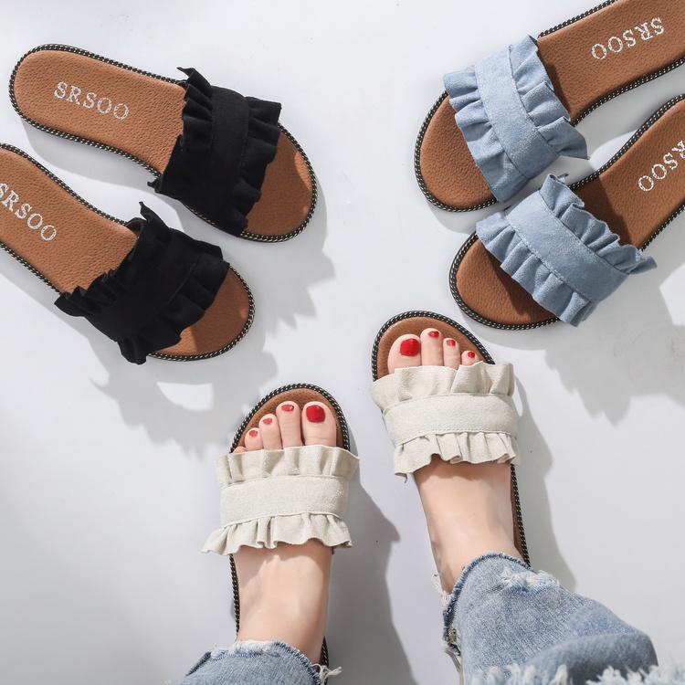 Сладкий корейский моды гриб кружево дизайн слово шлепанцы лето литература и искусство темперамент квартира с обувь женская прохладно торможение женщина
